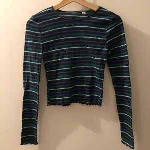 Green, blue and white stripes long sleeve shirt